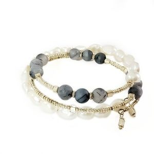 Artisan Gemstone & Freshwater Pearl Layer Bracelet